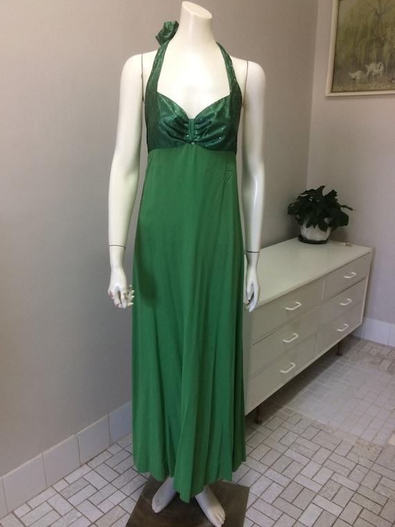 Original Vintage 60s Halter Dress , Green Maxi Dre