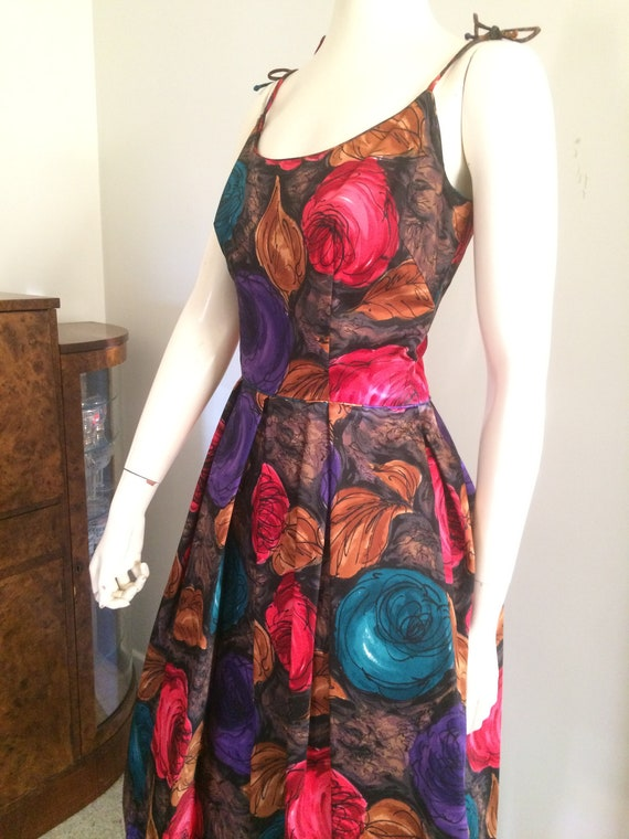 Pinup Floral Evening skirt Vintage Dress Rockabilly Party Roses 60s 50s Cocktail Fabric Chiffon Original Full FOwpq5p
