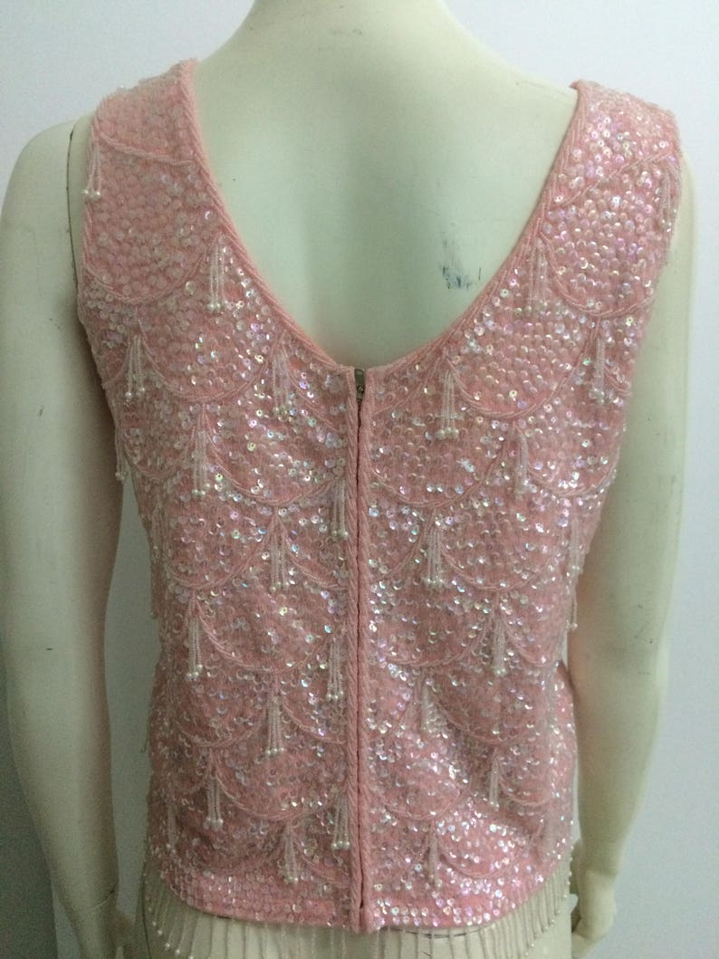 Pink Rockabilly Pinup Madmen Medium Original Vintage 50s 60s Beaded Sequin shell Top blouse