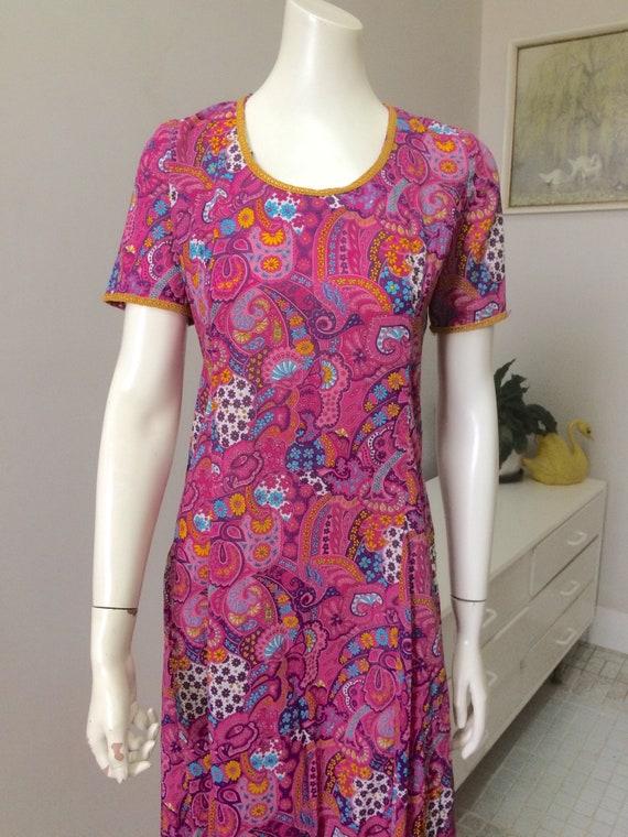 Original Vintage 60s 70s Dress Maxi , XS Size , Bo
