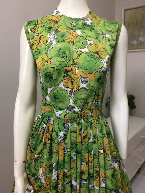 Original Vintage 60s Day Dress, Floral Full Skirt