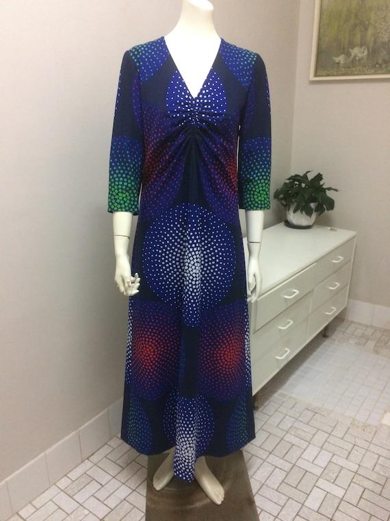 Original Vintage 60s 70s  Dress , Psychedelic Max… - image 2