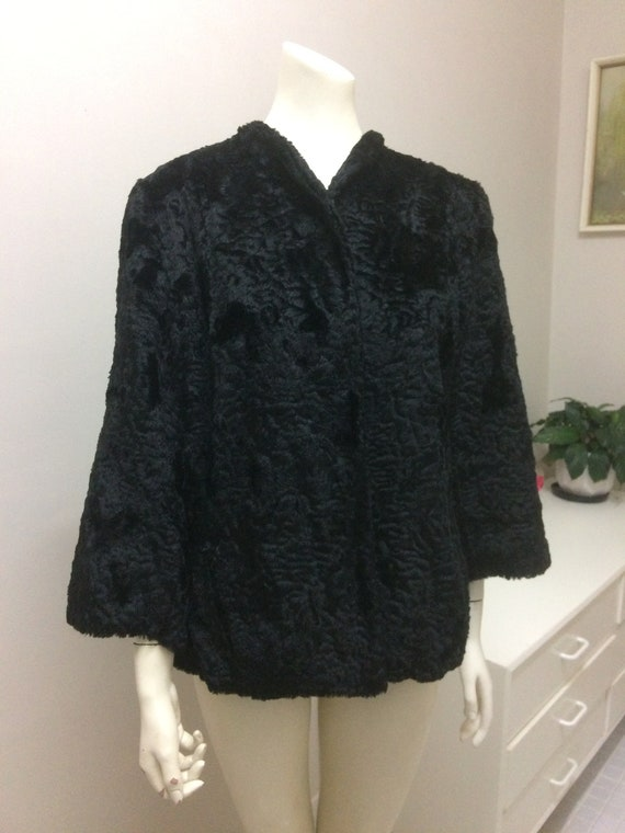 Original Vintage 40s 50s Swing Coat , Black Coat ,
