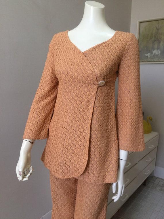 Original Vintage 60s Pant Suit Set , Embroidered D