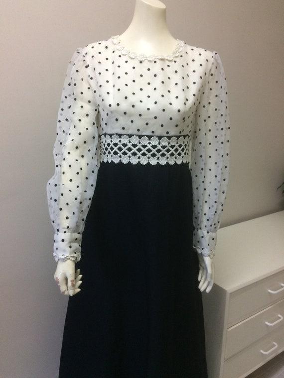 Original Vintage 60s Dress ,Polka Dots Maxi Dress