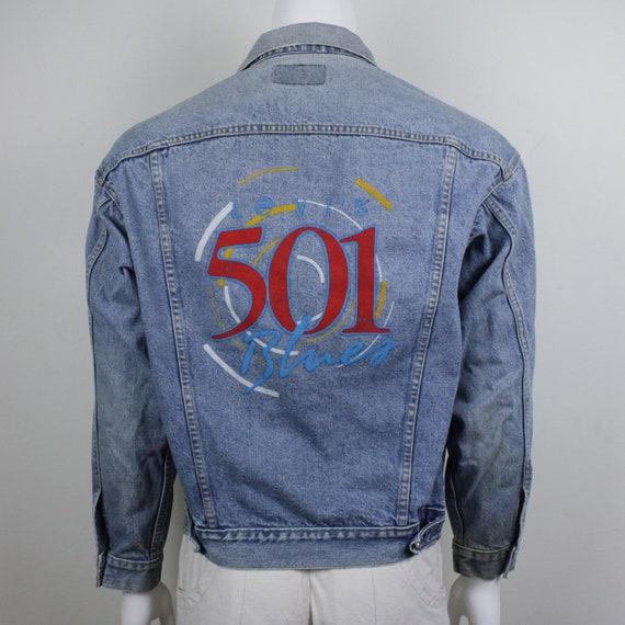 90's Levi's 501 Denim Jacket / Men's Large / Distr