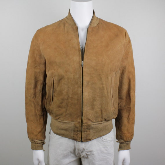 50's Penneys Suede Leather Bomber Jacket Men's 42