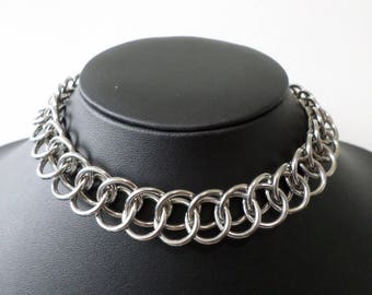 Extra Wide Heavy-Duty Half-Persian Chainmail Choker - Minimalist Gothic Bulky Chain Collar / Necklace