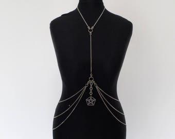 Stainless Steel Pentagram Body Chain - High Quality Gothic Chainmail Bikini Harness