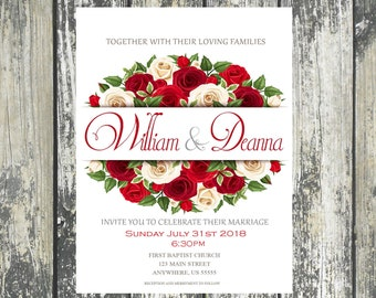 Red Rose wedding Invitations. Matching Products also available