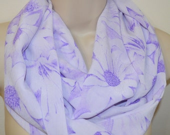 Purple flowers white chiffon infinity scarf, chiffon infinity loop, women scarf, spring, summer, fall scarf, chiffon infinity scarf