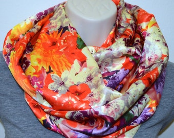 multi flower infinity scarf, women colorful print scarf, infinity loop, spring/summer/fall infinity scarf