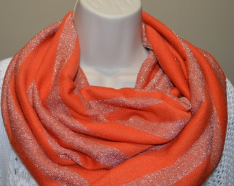 Orange with silvery stripes infinity scarf, Spring infinity scarf, women/girl scarf, spring/ summer/fall scarf, infinity loop