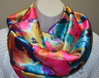 infinity scarf, multicolored infinity scarf, women loop, women scarf, spring/summer/fall scarf,