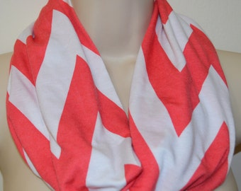 Sale, white and coral stripes infinity scarf, striped infinity scarf, women scarf, women loop, spring scarf, summer/fall scarf