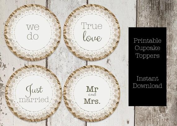 Paper doily wedding cupcake topper printable wedding we do etsy image 0 junglespirit Choice Image