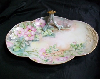 Limoges France William Guerin mark  Handpainted tray with Pink wild roses gold handle and trim