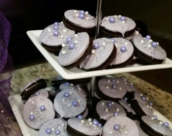 Sofia the first inspired chocolate covered oreos, purple oreos, purple chocolate covered oreos
