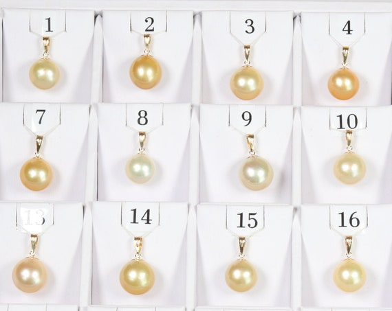 13.1mm-15mm Golden South Sea Pearl Pendants, AAA Quality Round (GSSP003)