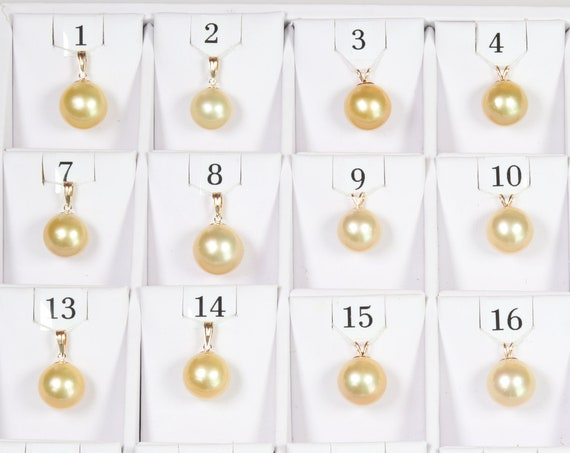 12.5mm-14.7mm Golden South Sea Pearl Pendants, AAA Quality Round (GSSP001)