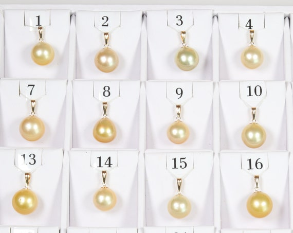 12.9mm-15mm Golden South Sea Pearl Pendants, AAA Quality Round (GSSP004)