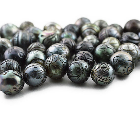 Hand Carved Tattoo Tahitian Pearls Sizes 13mm To 14mm Etsy