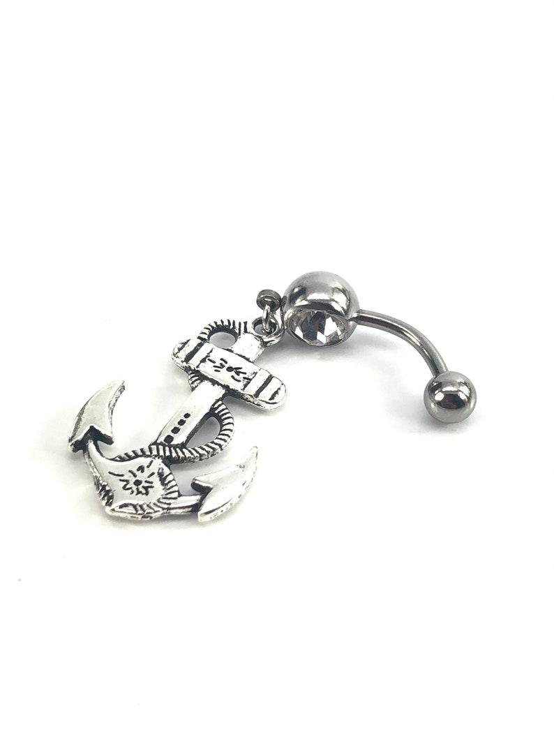SKU# NBR066 anchor gem belly ring Stainless steel curve bar