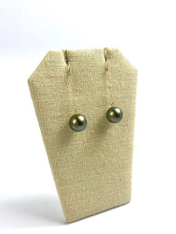 14K Solid Gold Dangle Tahitian Pearl Earrings