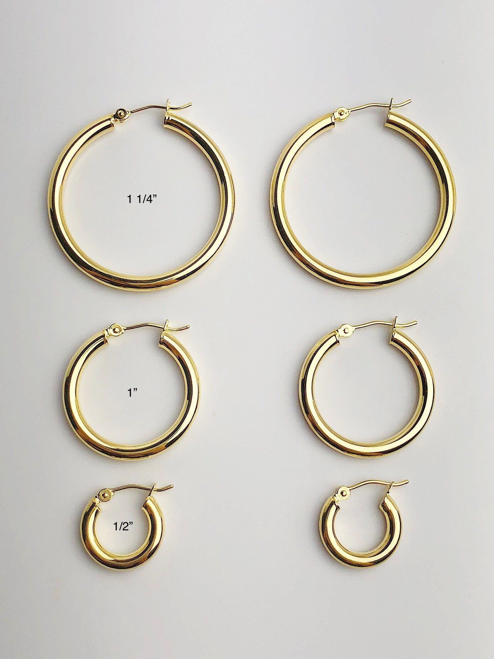 1 14 to 12 Made in USA #884-287, 187, 185 14k 3mm Gold Hoop Earrings