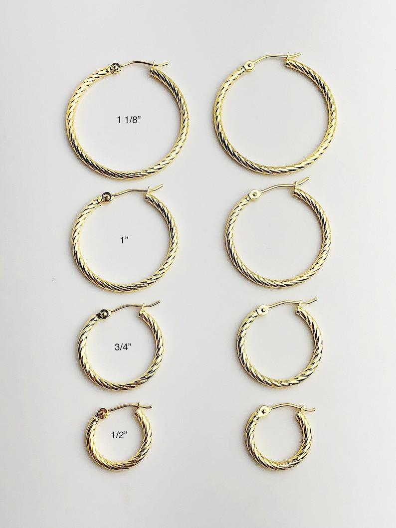 14k 2mm Gold Twist Hoop Earrings #882-205, 208, 207, 206 1 18 to 12 Made in USA