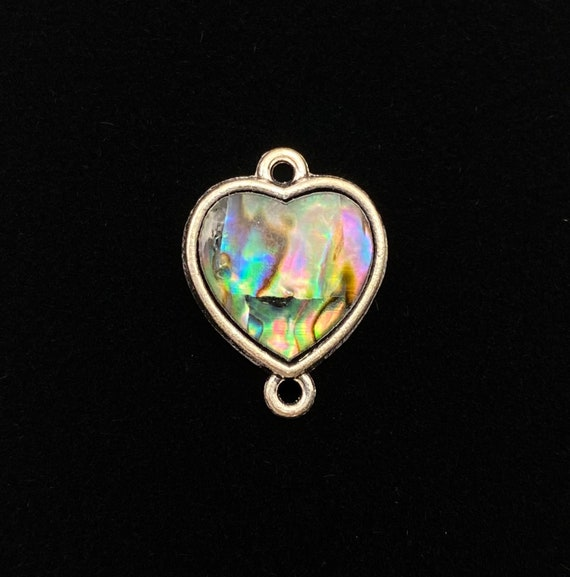 Heart abalone mother of pearl charm, SKU#M1036
