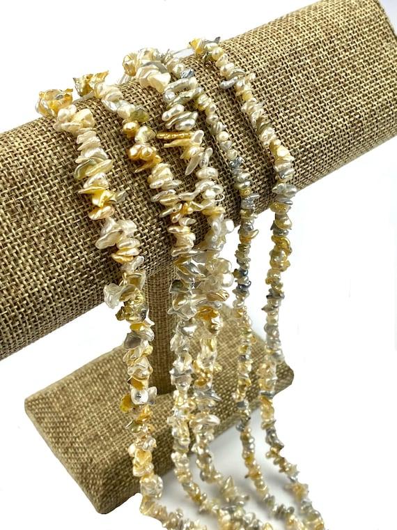 100% natural golden Keshi pearl strands, SKU#11188