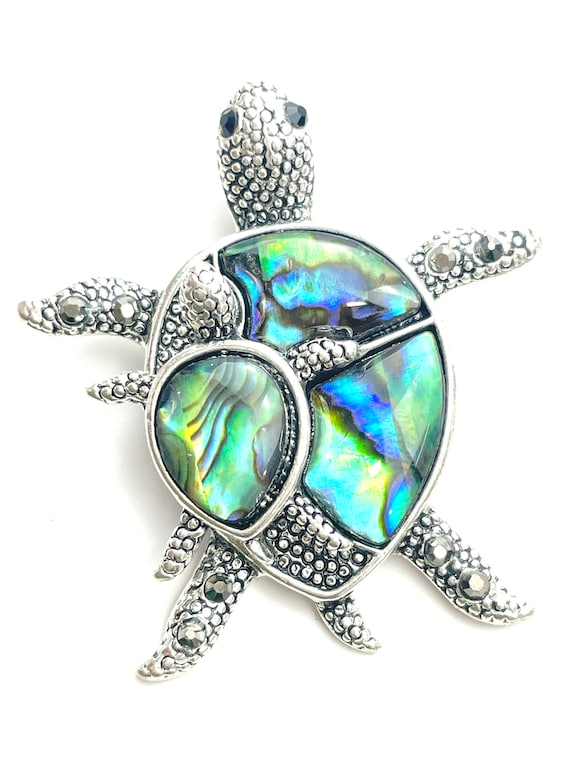 Abalone Mother of Pearl mommy & baby turtle pendant