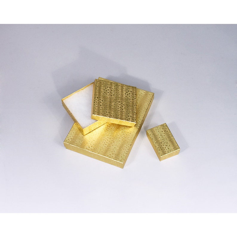 Bulk Pricing Available Cotton Filled 100 Pcs 3 12 x 3 12 x 2 Gold Texture Jewelry Boxes BX2834 Sold By The Case 100 Quantity