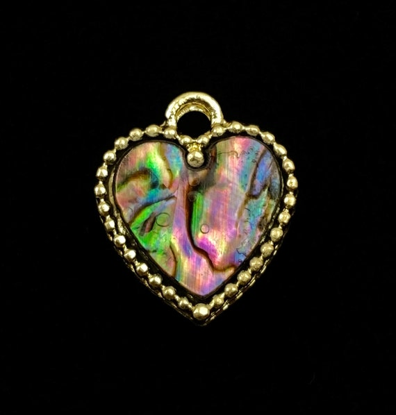 Heart abalone mother of pearl charm, SKU#M1034