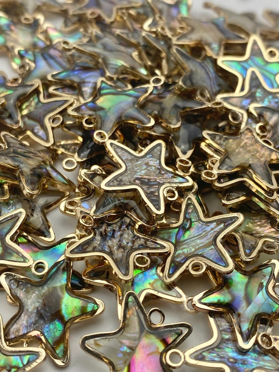 14KGF star abalone mother of pearl charm, SKU#M1062