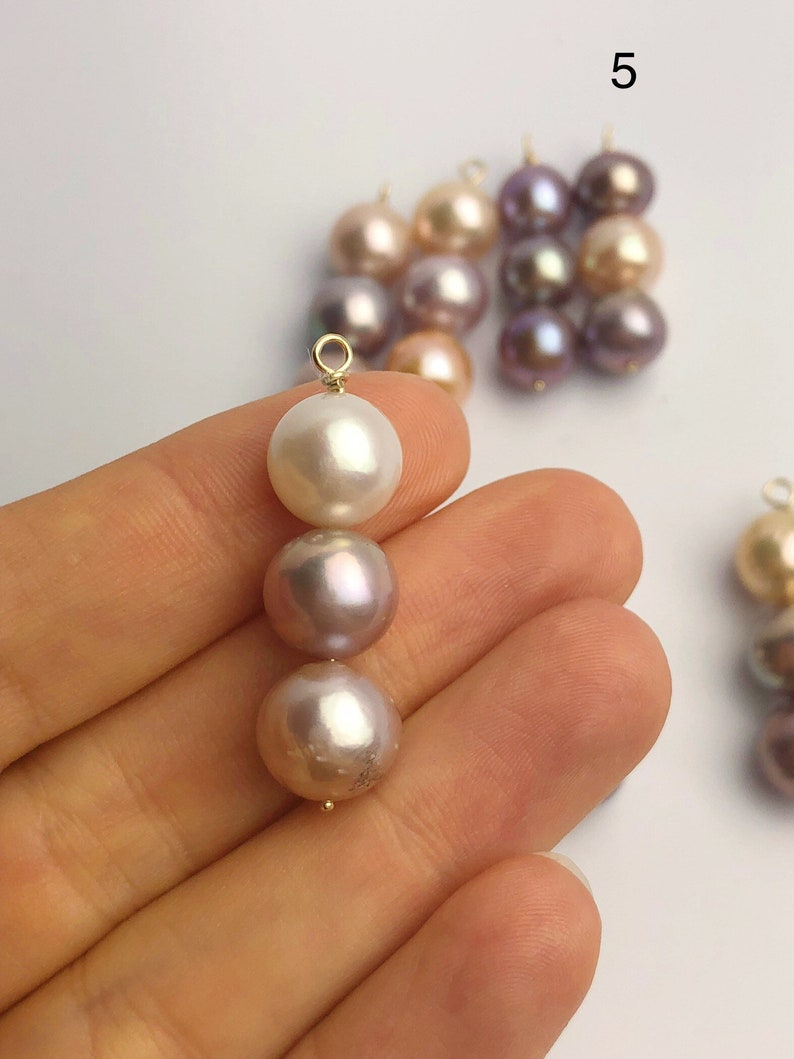 Natural Color Edison Pearl Pendants on 14K Gold 547 No. 1-8 10-11mm Made in Hawaii