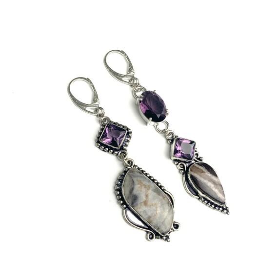 Long mismatched amethyst earrings Crystal chandelier purple silver earrings Statement asymmetric February birthstone earrings