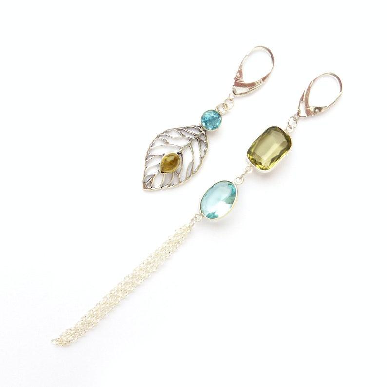 Long mismatched Blue topaz earrings Crystal chandelier silver earrings Statement asymmetrical brown smoky quartz earrings