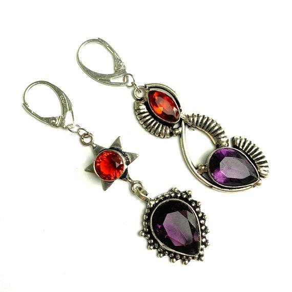 Mismatched amethyst silver earrings Purple crystal chandelier earrings Statement asymmetrical February birthstone earrings