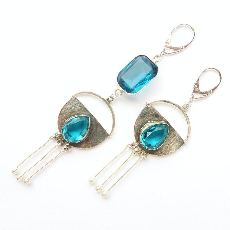 Long mismatched Blue topaz earrings Crystal chandelier silver earrings Statement asymmetrical December birthstone earrings