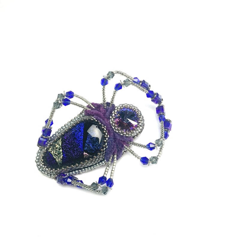 Bead embroidery Purple Spider brooch Beadwork Insect Jewelry Statement insect brooch Spider jewelry crystal jacket pin