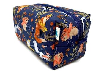 Autumn Woodland Boxy Bag - Toiletry Bag - Dopp Kit - Travel Bag -Makeup Bag - Accessory Bag - Wash Bag - Wet Bag