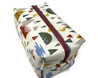 Desert Southwest Boxy Bag - Toiletry Bag - Dopp Kit - Travel Bag -Makeup Bag - Accessory Bag - Wash Bag - Wet Bag