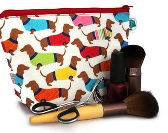 Large Cosmetic Bag - Makeup Bag - Accessory Bag - Make up Bag - Toiletry Bag - Gadget Bag -  Jewelry Pouch in Dachshund