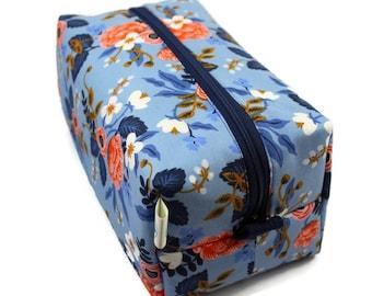 Boxy Bag, Toiletry Bag, dopp kit, Travel bag, Makeup Bag, Accessory bag, Wash Bag, Wet Bag in Rifle Paper Co Periwinkle Birch Floral