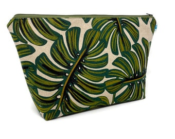 Monstera Palm Extra Large Cosmetic Bag | Toiletry Bag | Travel Bag | Makeup Bag | Wet Bag | Accessory Pouch | Knitting Bag