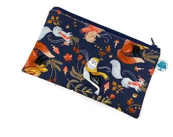 Autumn Woodland Pen Pouch - Makeup Bag - Zipper Pouch - Cosmetic Bag - Zipper Clutch - Pencil Bag - Cosmetic Case - Pencil Case