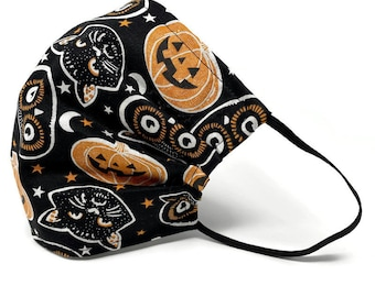 Pumpkin Jack-o-Lantern Face Mask |  Black Cat Halloween Mask | Cotton Mask with Nose Wire  | Reversible Face Mask | Double sided mask
