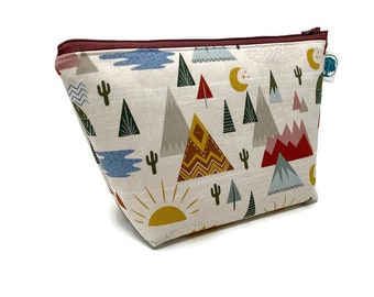 Desert Southwest | Large Cosmetic Bag | Makeup Bag | Accessory Pouch | Toiletry Bag | Gadget Bag | Jewelry Pouch